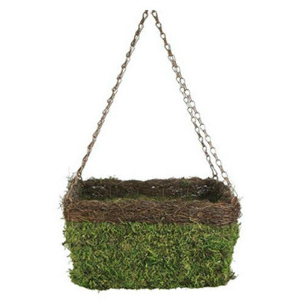 Panacea™ 83556 Natural Moss & Wicker Square Hanging Basket w/ Chain, Green, 13""