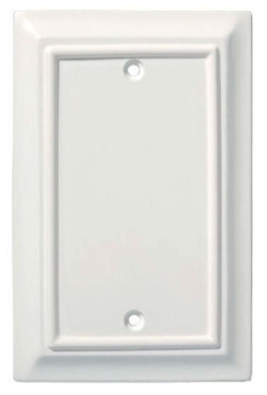 Brainerd® W13761-W-U Wood Architectural Blank Wall Plate, White, 1 Gang