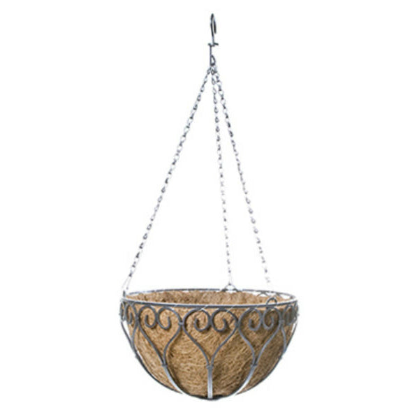 Panacea™ 88574 Savanna Hanging Basket with Chain & Coco Liner, Antique Iron, 14""