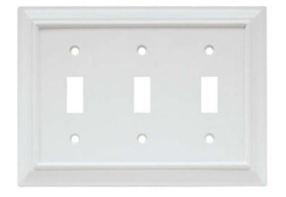 Brainerd® W10764-W-U Wood Architectural Triple Toggle Wall Plate, White