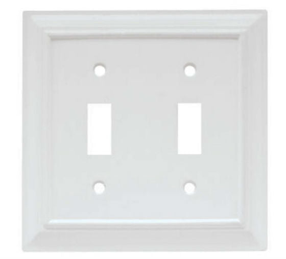 Brainerd® W10763-W-U Wood Architectural Toggle Wall Plate, White, 2 Gang