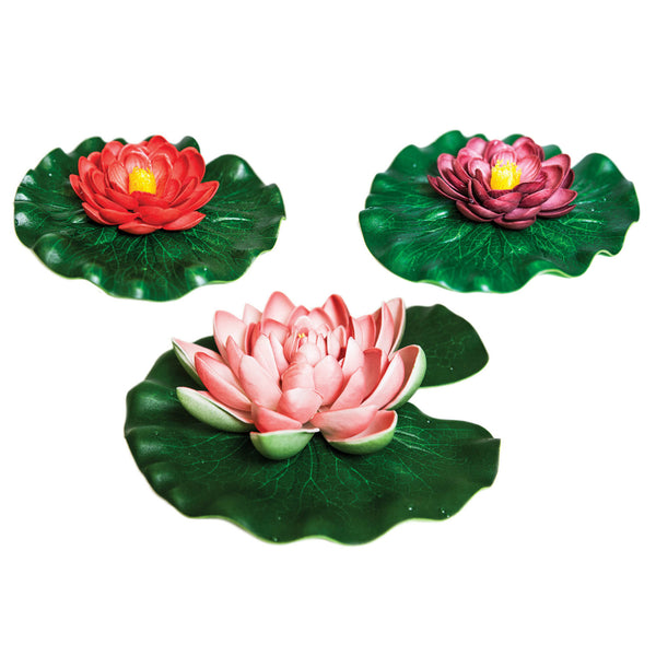 Pond Boss® DFLP3 Non-Toxic Floating Lily Pad, Assorted Colors, 3-Pack