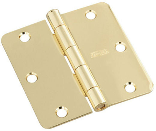 "National Hardware® N830-211 Door Hinge with 1/4"" Round Corner, Polished Brass, 3"""