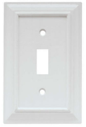 Brainerd® W10762-W-U Architectural Toggle Wall Plate, White, Wood, 1 Gang