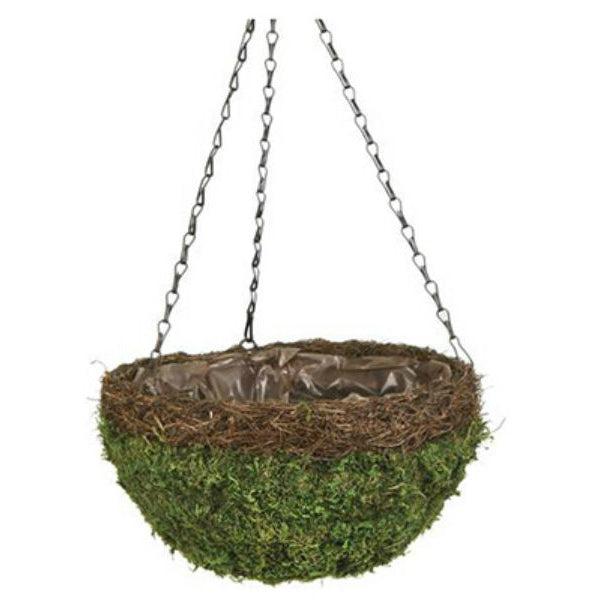 Panacea™ 83558 Natural Moss & Wicker Round Hanging Basket with Chain, Green, 14""
