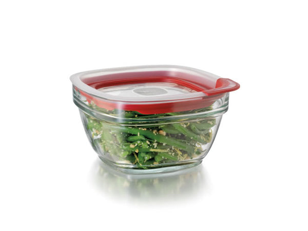 Rubbermaid® 2856004 Glass Food Storage with Easy Find Lids, 4 Cup, Square