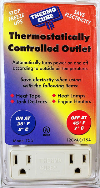 Thermo Cube TC-3 Thermostatically Controlled Outlet, On at 35/Off at 45-Degrees