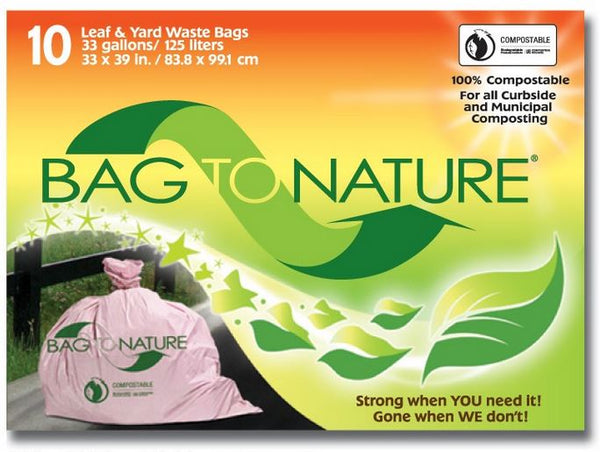 "Bag-To-Nature® MBP12310 Leaf & Yard Waste Bags, 33-Gallon, 33"" x 39"", 10-Count"