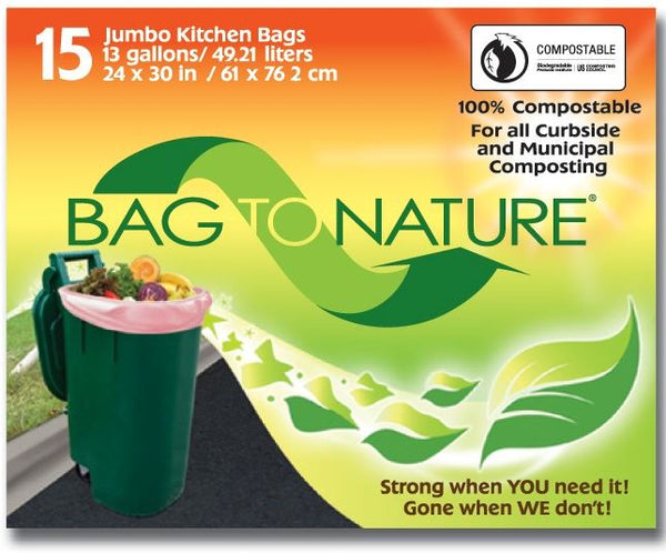 "Bag-To-Nature® MBP24205 Jumbo Kitchen Compost Bags, 13-Gallon, 24""x30"", 15-Count"