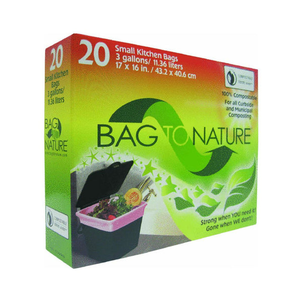 "Bag-To-Nature® MBP35201 Small Kitchen Compost Bags, 3-Gallon, 17""x16"", 20-Count"