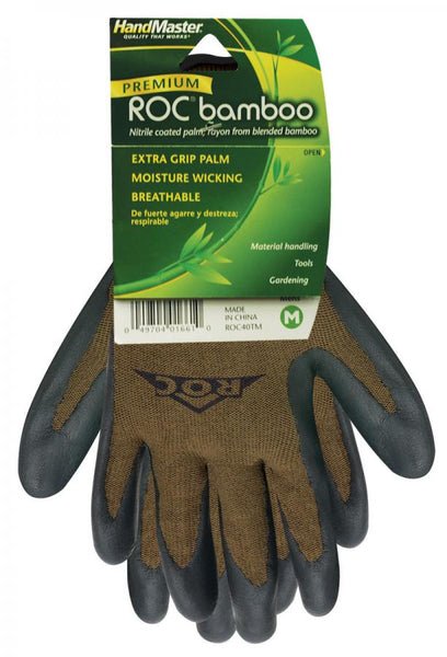 HandMaster® ROC40TM Premium Roc® Bamboo Nitrile Coated Palm Men's Glove, Medium