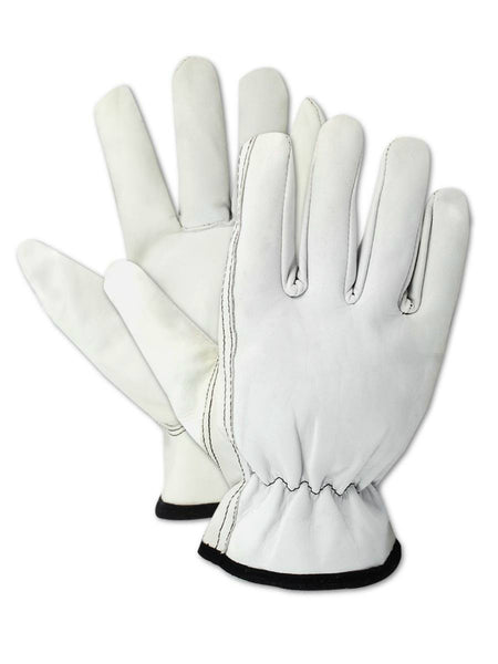 HandMaster® 6037TL Pro Grade Deluxe Goatskin Leather Driver Glove, White, Large