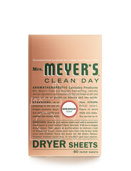 Mrs. Meyer's Clean Day 14348 Geranium Dryer Sheets, 80-Count
