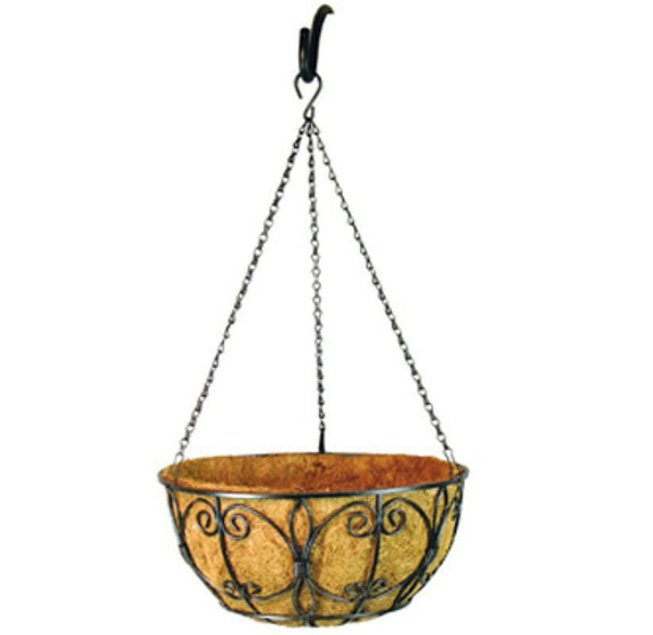 "Border Concepts 72847 Wrought Iron New Orleans Hanging Basket, 14"", Black"