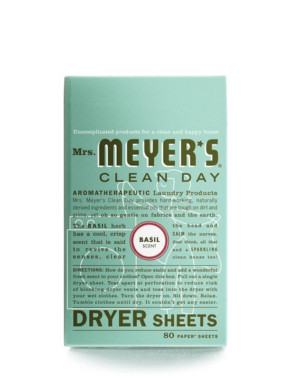 Mrs. Meyer's Clean Day 14448 Basil Dryer Sheets, 80-Count