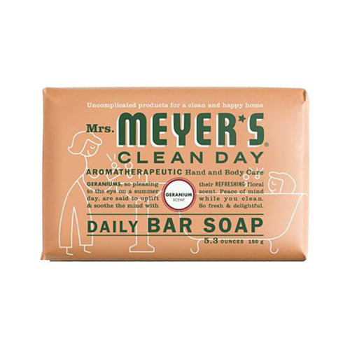 Mrs. Meyer's Clean Day 13165 Daily Bar Soap, 5.3 Oz, Geranium Scent