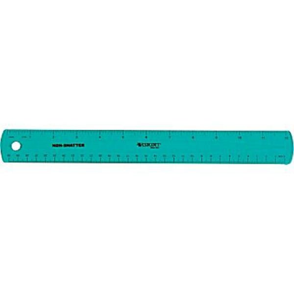 Westcott® 14381 Shatter-Proof Plastic Ruler, Assorted Colors, 12""