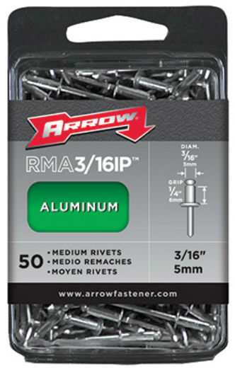 Arrow Fastener RMA3/16IP Medium Aluminum Rivet Industrial Pack, 50 Count