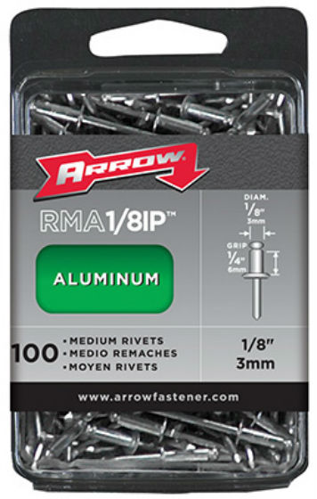 Arrow Fastener RMA1/8IP Medium Aluminum Rivet Industrial Pack, 100 Count