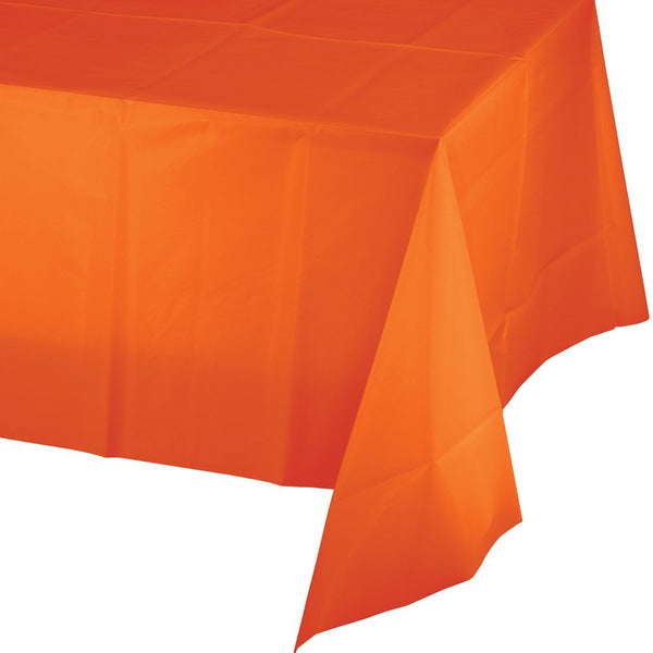 "Creative Converting™ 01192 Plastic Table Cover, Sunkissed Orange, 54"" x 108"""