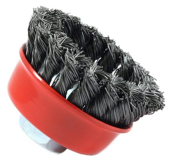 "Forney 72757 Knotted Wire Cup Brush, 2-3/4"" x 0.012"" Wire, 5/8""-11 Arbor"