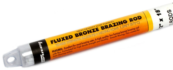 "Forney 48490 Bronze Brazing Rod, Flux Coated, Low Fuming, 3/32"" x 18"""