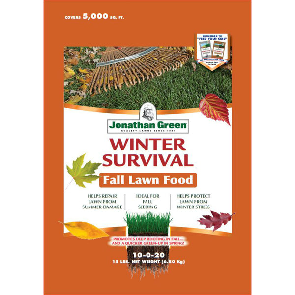 Jonathan Green 12400 Winter Survival Fall Lawn Fertilizer, 10-0-20, 5000 Sq.Ft.
