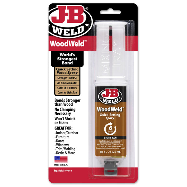 J-B® Weld 50151 WoodWeld™ Quick-Setting Epoxy Syringe, 25 ml, Light Tan