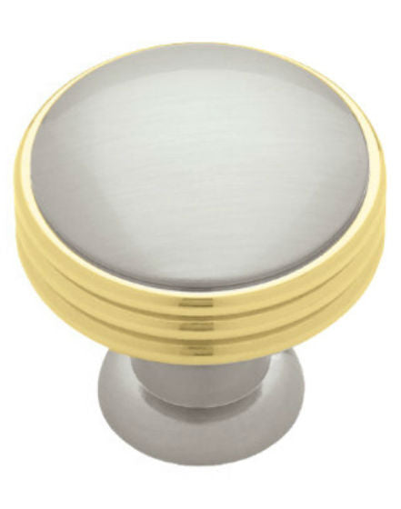 "Liberty PN1035C-PBN-C Solid Brass Ringed Knob, 1-3/8"", Polished Brass & Satin Nickel"
