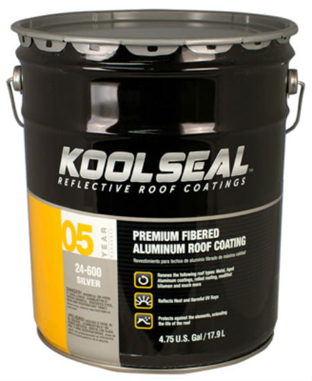 Kool Seal® KS0024600-20 Premium Fibered Aluminum Roof Coating, 5 Gallon
