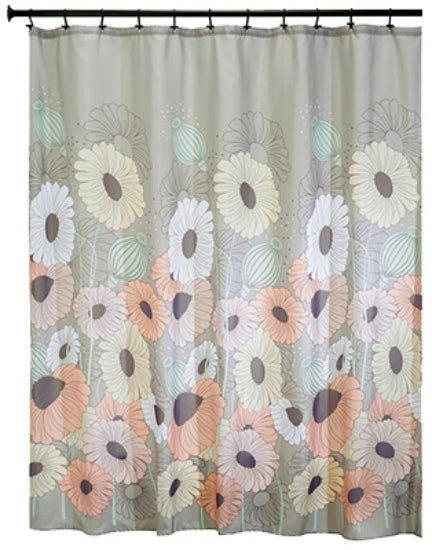 "Interdesign 45820 Wild Flower Fabric Shower Curtain, 72"" x 72"""