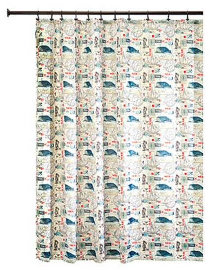 "Interdesign 48220 Maritime Fabric Shower Curtain, 72"" x 72"""