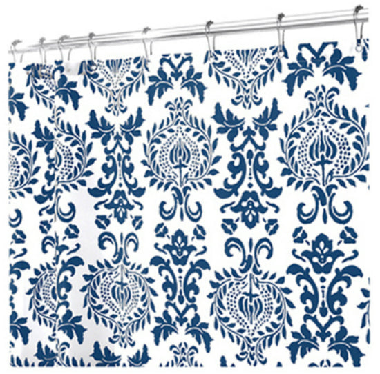 "Interdesign 40424 Damask Fabric Shower Curtain, 72"" x 72"", Navy"