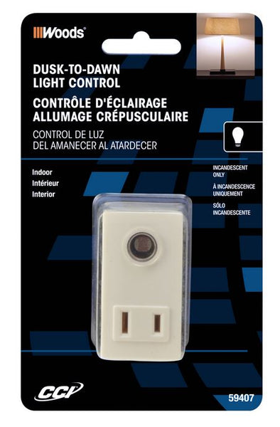 Woods® 59407 Indoor Plug-In Light Control with Photocell