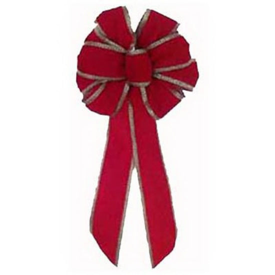 Holiday Trim 6175 Velvet Bow with Gold Chevron Wire, 7 Loop, Red