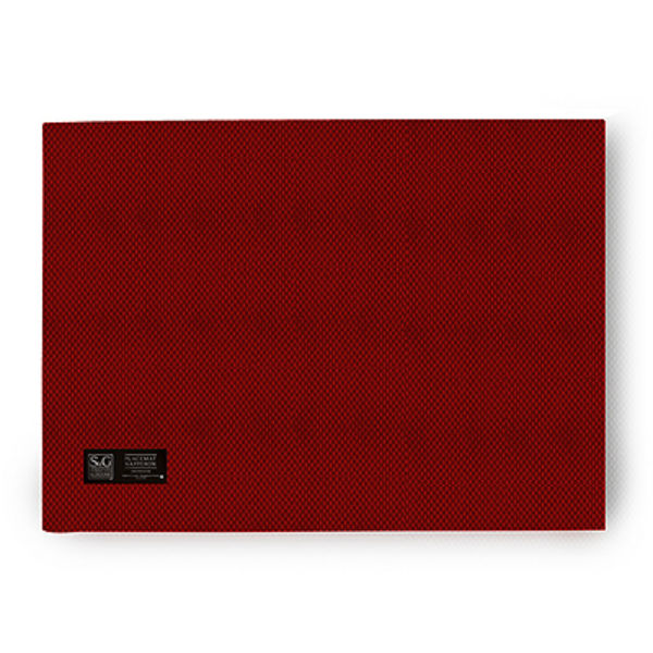 "Sebastien & Groome TCX09057PM Oblong Basket Weave Placemat, 18"" x 13"", Red"