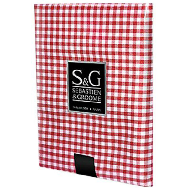 "Sebastien & Groome TCY6055684 Mini-Gingham Check Tablecloth, 60""x84"", Red/White"