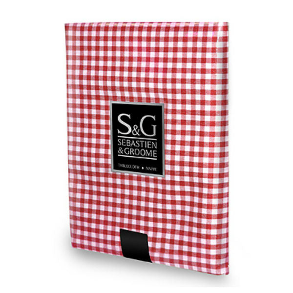"Sebastien & Groome TCY6055660 Mini-Gingham Check Tablecloth, 60"", Red/White"