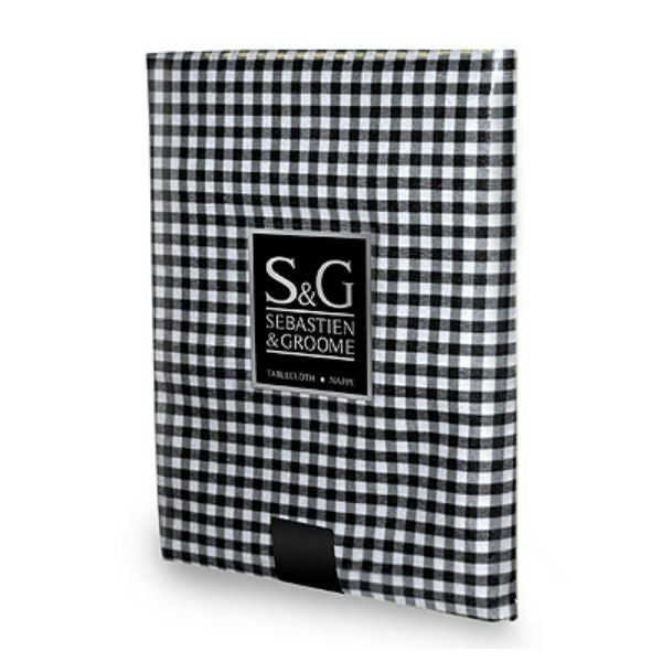 "Sebastien & Groome TCY6059084 Mini-Gingham Check Tablecloth, 60""x84"", Black/White"