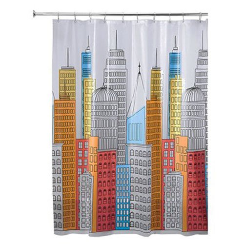 "InterDesign 43220 Metropolitan PEVA Shower Curtain, 72"" x 72"", Waterproof"