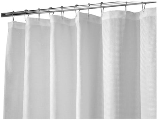 "Interdesign 22980 Carlton Fabric Shower Curtain, 72"" x 84"", White"