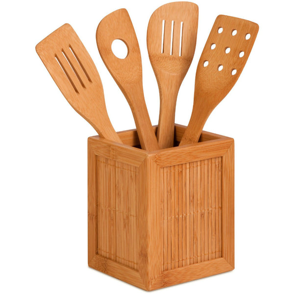 Honey-Can-Do KCH-01080 Bamboo Utensils & Kitchen Caddy