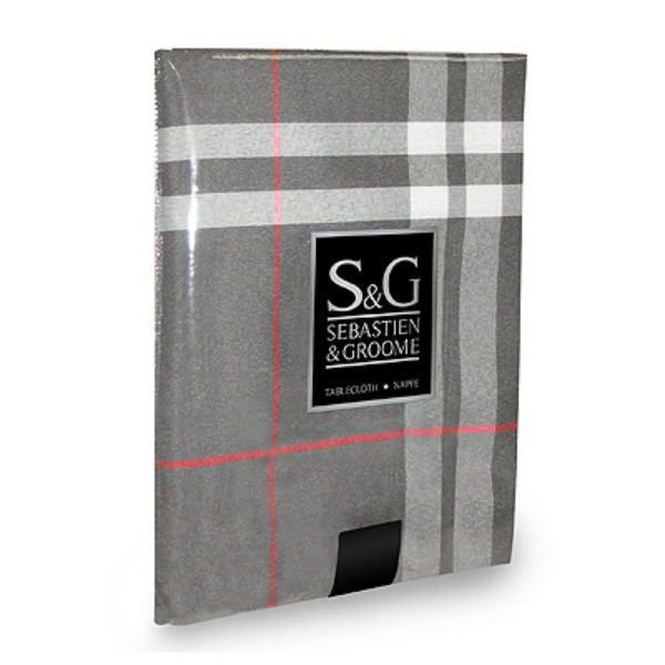"Sebastien & Groome TCY6098910 Oblong Urban Plaid Tablecloth, 60"" x 104"", Gray"