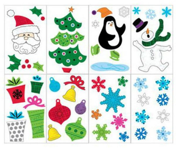 Impact Innovation 13525D Christmas Window Gel Cling, Assorted, 12""
