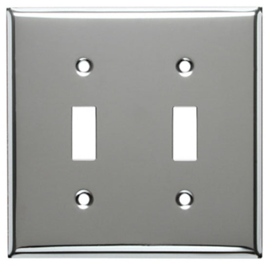 Mulberry Metals 83072 Steel Wall Plate, 2-Gang, Chrome, Standard Size