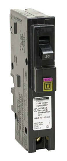 Square-D HOM120PDFC Homeline™ Single Pole Circuit Breaker, 20A, 1 Space Per Pole