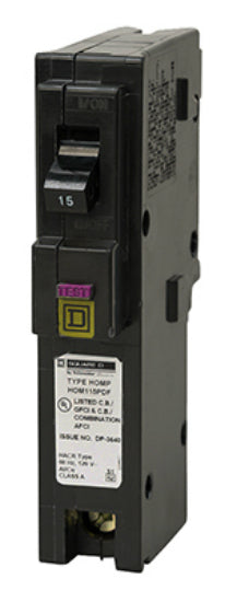 Square-D HOM115DFC Homeline™ Single Pole Circuit Breaker, 15A