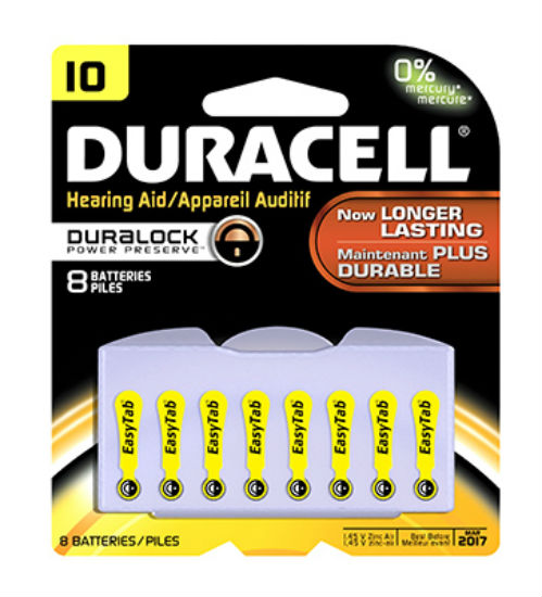 "Duracell® 00275 Hearing Aid Battery with EasyTab, 10"", 8-Pack"