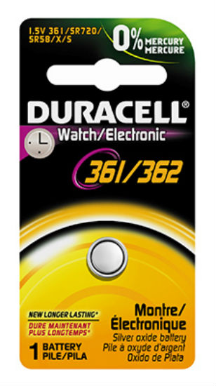 Duracell® 12609 Silver Oxide Watch Battery, 1.5 Volt, #361/362