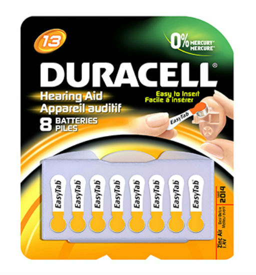 Duracell® 00277 Hearing Aid Battery with EasyTab, 1.4 Volt, #13, 8-Pack